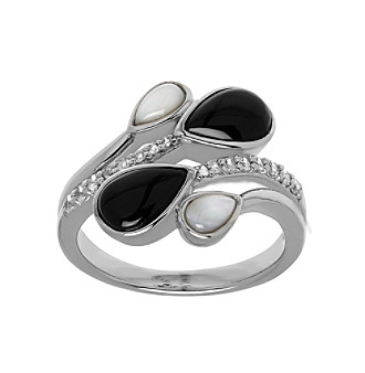 Sterling Silver, Onyx, Mother Of Pearl And White Topaz Ring