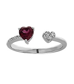 Fine Jewelry Sterling Silver Garnet Ring with 0.04 ct. t.w. Diamond