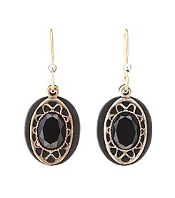 Silver Forest® Goldtone Framed Oval and Black Stone Earrings