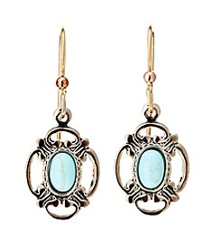 Silver Forest® Goldtone Filigree with Small Oval Turquoise Stone Earrings