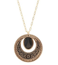Silver Forest® Goldtone Circles with Black Oval Stone Necklace