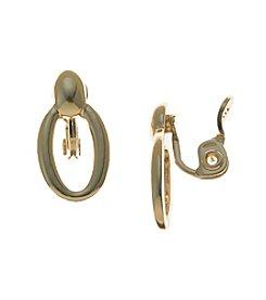 Napier® Goldtone Doorknocker Clip Earrings