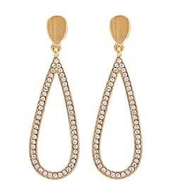 Erica Lyons® Goldtone Long Open Teardrop Pierced Earrings