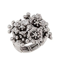 Erica Lyons® Silvertone Flowers Cluster Fashion Stretch Ring