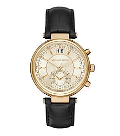 Michael Kors® Women's Goldtone Sawyer Watch with Black Leather Strap