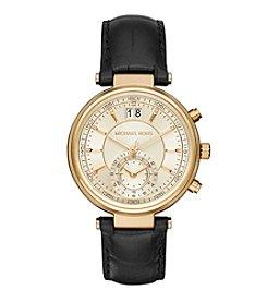 Michael Kors® Women's Goldtone Sawyer Watch with Black Leather Strap