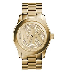 Michael Kors® Women's Goldtone Oversized Logo Runway Watch