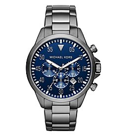 Michael Kors® Men's Silvertone and Navy Gage Watch
