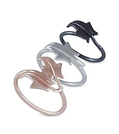 French Connection® Tri-Tone Ivy Leaf Midi Ring Set