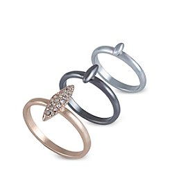 French Connection® Tri-Tone Mini Spike Midi Ring Set