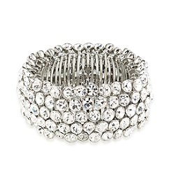 Carolee® Silvertone Broadway Lights Stretch Bracelet