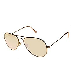 Relativity® Purple Flat Mirror Lens Aviator Sunlgasses