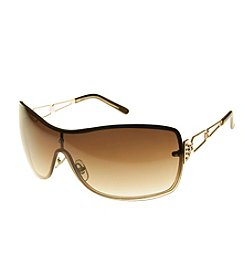 Relativity® Goldtone Brown Shield With Open Metal Temple Sunglasses