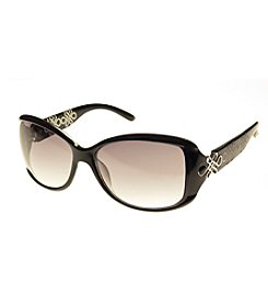 Relativity® Plastic Rectangle With Infinity Detail Sunglasses