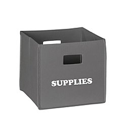 RiverRidge® Kids Grey Folding Storage Bin with Print - Supplies