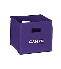 RiverRidge® Kids Dark Purple Folding Storage Bin with Print - Games