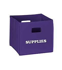 RiverRidge® Kids Dark Purple Folding Storage Bin with Print - Supplies