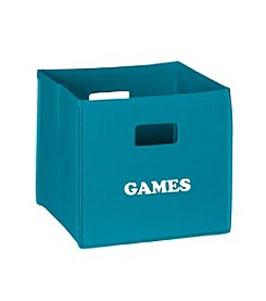 RiverRidge® Kids Turquoise Folding Storage Bin with Print - Games
