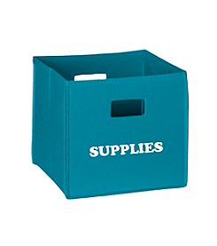 RiverRidge® Kids Turquoise Folding Storage Bin with Print - Supplies