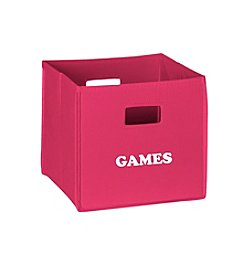 RiverRidge® Kids Hot Pink Folding Storage Bin with Print - Games