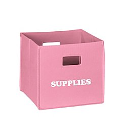 RiverRidge® Kids Pink Folding Storage Bin with Print - Supplies