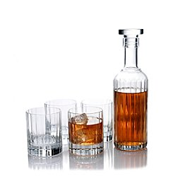 Luigi Bormioli Bach Gift Set of 4 Double Old Fashioned Glasses with Spirits Bottle