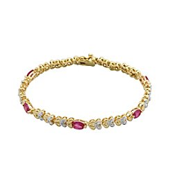 18K Gold-Plated Created Ruby with Diamond Accent Heart 7.25