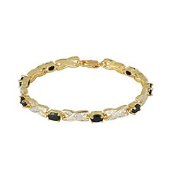 18K Gold-Plated Genuine Sapphire with Diamond Accent 7.25