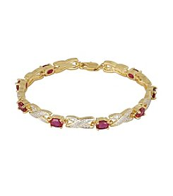 18K Gold-Plated Created Ruby with Diamond Accent 7.25