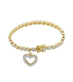 18K Gold-Plated Diamond Accent Heart Charm 7.25