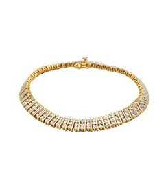 18K Gold-Plated Diamond Accent 3 Rows 7.25