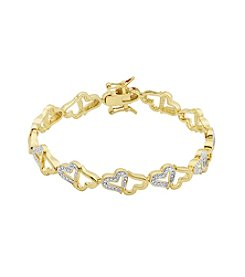 18K Gold-Plated Diamond Accent Heart Links 7.25