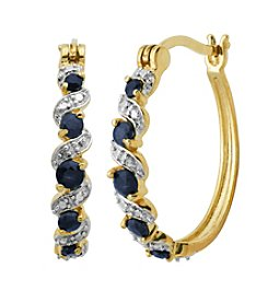 18K Gold-Plated Genuine Sapphire with Diamond Accent Hoop Earrings