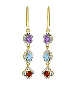 18K Gold-Plated Genuine Multi Stones with Diamond Accent Dangle Earrings
