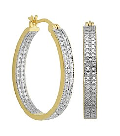 18K Gold-Plated Diamond Accent Hoop Earrings