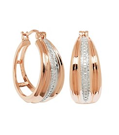 Rose Gold-Plated Diamond Accent Hoop Earrings