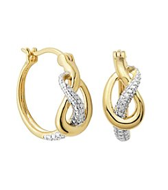 18K Gold-Plated Diamond Accent Slip Knot Hoop Earrings