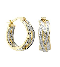 18K Gold-Plated Diamond Accent Braided Hoop Earrings