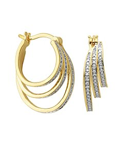 18K Gold-Plated Diamond Accent 3-Stacked Hoop Earrings