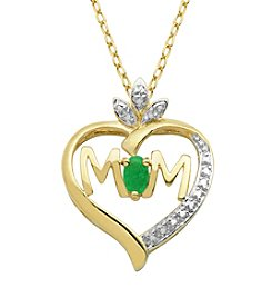 18K Gold-Plated Emerald with Diamond Accent