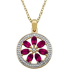 18K Gold-Plated Created Ruby Flower Diamond Accent Circle Pendant 18