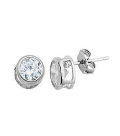 Sterling Silver Round Bezel Cubic Zirconia Earrings