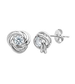 Sterling Silver Cubic Zirconia Knot Earrings