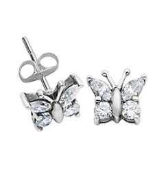Sterling Silver Cubic Zirconia Butterfly Earrings