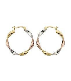 Sterling Silver Tri-Color Twist Hoop Earrings