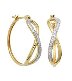 18K Gold-Plated Diamond Accent Crisscross Hoops