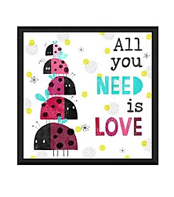 Greenleaf Art Ladybug All You Need is Love Framed Canvas Wall Art
