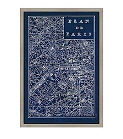 Greenleaf Art Blueprint map Paris Framed Canvas Wall Art