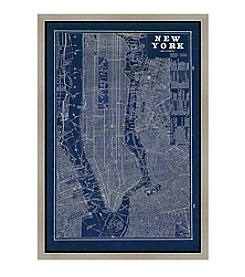 Greenleaf Art Blueprint Map New York Framed Canvas Wall Art