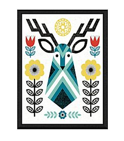 Greenleaf Art Folk Lodge Deer Framed Canvas Wall Art